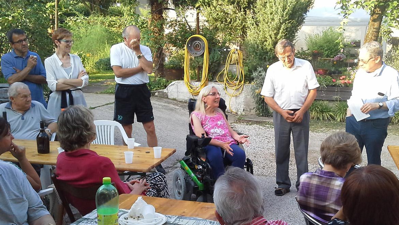Un momento della festa, al centro la presidente della UILDM di Udine, Daniela Campigotto