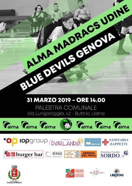Madracs Udine vs Blue Devils Genova a Buttrio il 31 marzo